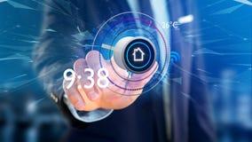 Uomo d'affari che tiene un bottone di un'automazione della casa astuta app - 3d Fotografia Stock Libera da Diritti