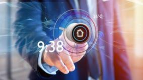 Uomo d'affari che tiene un bottone di un'automazione della casa astuta app - 3d Fotografie Stock