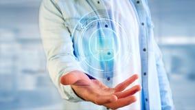 Uomo d'affari che tiene un bottone technologic del computer di Shinny - 3d con riferimento a Immagine Stock Libera da Diritti