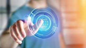 Uomo d'affari che tiene un bottone technologic del globo di Shinny - rende 3d Fotografie Stock