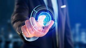 Uomo d'affari che tiene un bottone technologic del globo di Shinny - rende 3d Fotografie Stock Libere da Diritti