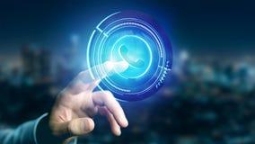 Uomo d'affari che tiene un bottone technologic del telefono di Shinny - rende 3d Immagine Stock Libera da Diritti