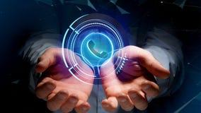 Uomo d'affari che tiene un bottone technologic del telefono di Shinny - rende 3d Fotografia Stock