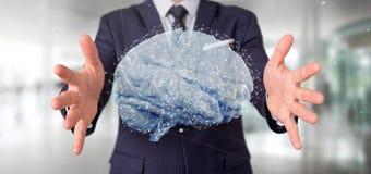 Uomo d'affari che tiene un 3d che rende cervello artificiale Fotografie Stock Libere da Diritti