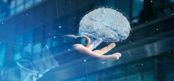 Uomo d'affari che tiene un 3d che rende cervello artificiale Fotografia Stock Libera da Diritti