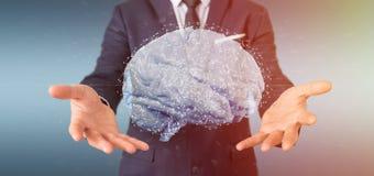 Uomo d'affari che tiene un 3d che rende cervello artificiale Immagine Stock