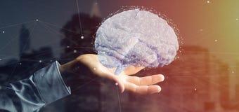 Uomo d'affari che tiene un 3d che rende cervello artificiale Fotografia Stock