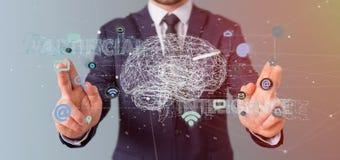 Uomo d'affari che tiene un 3d che rende conce di intelligenza artificiale Fotografia Stock Libera da Diritti