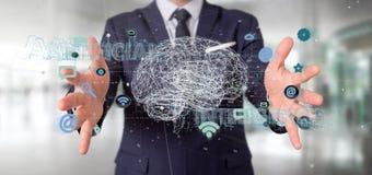Uomo d'affari che tiene un 3d che rende conce di intelligenza artificiale Fotografia Stock