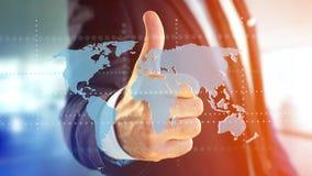 Uomo d'affari che tiene una mappa di mondo collegata su un interf futuristico Fotografia Stock Libera da Diritti