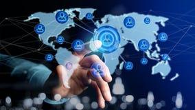 Uomo d'affari che tiene una rete sopra una mappa di mondo collegata - 3d con riferimento a Fotografia Stock