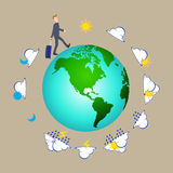 Uomo d'affari che tira la valigia della borsa di viaggio intorno al mondo con le icone del tempo, elementi della mappa della terr Immagini Stock
