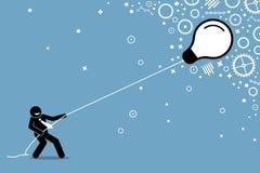 Uomo d'affari che tira una lampadina di galleggiamento di volo su una corda illustrazione vettoriale