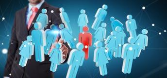 Uomo d'affari che tocca 3D che rende gruppo di persone con il suo finge Immagine Stock
