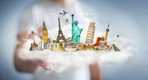 Uomo d'affari che tocca una nuvola in pieno dei monumenti famosi con la sua f Fotografie Stock