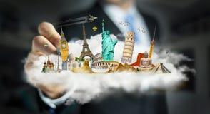 Uomo d'affari che tocca una nuvola in pieno dei monumenti famosi con la sua f Immagine Stock Libera da Diritti