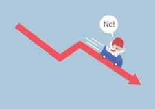 Uomo d'affari che va giù nelle montagne russe sopra il arr del mercato azionario Immagine Stock Libera da Diritti