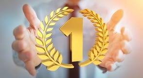 Uomo d'affari che vince la prima rappresentazione dorata di prezzi 3D Immagini Stock