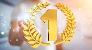 Uomo d'affari che vince la prima rappresentazione dorata di prezzi 3D Fotografia Stock