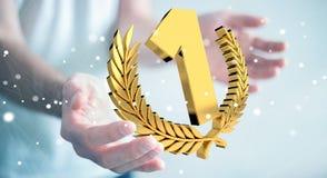 Uomo d'affari che vince la prima rappresentazione dorata di prezzi 3D Fotografie Stock Libere da Diritti
