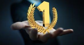 Uomo d'affari che vince la prima rappresentazione dorata di prezzi 3D Fotografia Stock Libera da Diritti