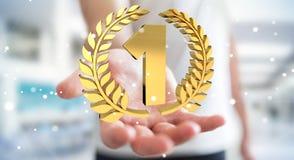 Uomo d'affari che vince la prima rappresentazione dorata di prezzi 3D Immagini Stock Libere da Diritti
