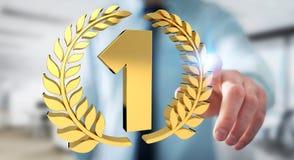 Uomo d'affari che vince la prima rappresentazione dorata di prezzi 3D Fotografie Stock
