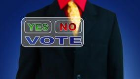 Uomo d'affari che vota no archivi video