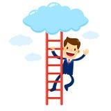 Uomo d'affari Climbing Stair Into la nuvola Fotografie Stock