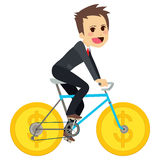 Uomo d'affari Coin Bicycle Royalty Illustrazione gratis
