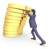 Uomo d'affari Coins Shows Earn imprenditoriale e rappresentazione di valuta 3d Fotografie Stock