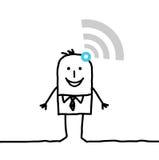 Uomo d'affari collegato fumetto con le onde illustrazione di stock