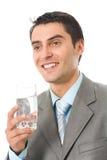 Uomo d'affari con acqua Fotografia Stock