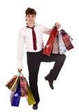 Uomo d'affari con acquisto del sacchetto. Fotografie Stock Libere da Diritti