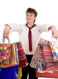 Uomo d'affari con acquisto del sacchetto del gruppo. Fotografie Stock Libere da Diritti