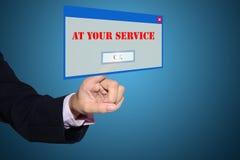 Uomo d'affari con al vostro segno di servizio Fotografie Stock