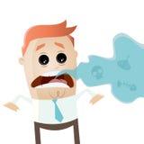 Uomo d'affari con cattivo respiro Fotografia Stock Libera da Diritti