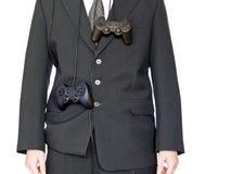 Uomo d'affari con gamepad Immagini Stock