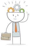 Uomo d'affari con gli ingranaggi sulla testa Fotografia Stock Libera da Diritti