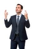 Uomo d'affari con gli occhi chiusi Fotografia Stock Libera da Diritti