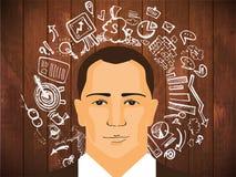 Uomo d'affari con gli scarabocchi di affari Immagine Stock