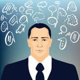 Uomo d'affari con gli scarabocchi di discorso Immagine Stock