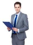 Uomo d'affari con i appunti Immagini Stock