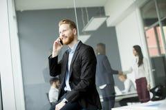 Uomo d'affari con i capelli dello zenzero facendo uso del telefono cellulare mentre l'altro busi fotografia stock libera da diritti