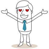 Uomo d'affari con i cuori come occhi illustrazione di stock