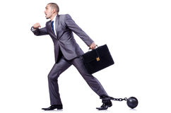 Uomo d'affari con i dispositivi d'ancoraggio Immagini Stock Libere da Diritti