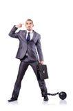 Uomo d'affari con i dispositivi d'ancoraggio Fotografie Stock Libere da Diritti