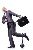 Uomo d'affari con i dispositivi d'ancoraggio Fotografia Stock Libera da Diritti
