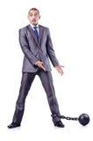 Uomo d'affari con i dispositivi d'ancoraggio Fotografia Stock