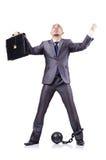 Uomo d'affari con i dispositivi d'ancoraggio Immagini Stock